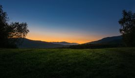 Last light on the hill. Catching last light of a summer day in Slovakian national park Poloniny Stock Images