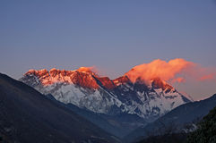 Last Light On Mount Everest Stock Photo