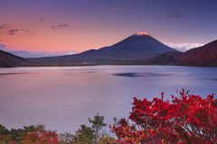 Last light on Mount Fuji and Lake Motosu, Japan Royalty Free Stock Photo