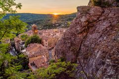 Last light in Moustiers Sainte Marie. Beautiful sunset in the lovely village of Moustiers Sainte Marie in France Stock Photo