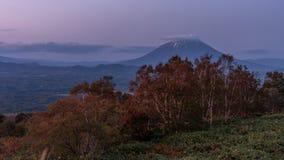 Last light of Yotei mountain. Last light after sunset picture of Yotei mountain ,Hokkaido Stock Photo