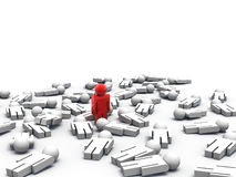 Last Man Standing. 3d render of one man standing while the others are lying on the ground Royalty Free Stock Photo