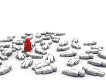 Last Man Standing. 3d render of one man standing while the others are lying on the ground Royalty Free Stock Image