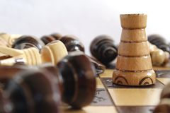 Last man standing. Chess game with only the tower standing Royalty Free Stock Photography