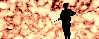 Soldier in front of explosion Stock Photos