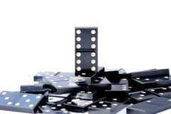 Last man standing one most valuable domino leader Stock Photos