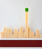 Last match standing. The last green match standing in matchbook Stock Images