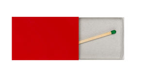 Last Matchstick in Box. Last Matchstick in blank red Box stock image