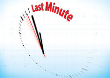 The last minute. Illustration of a clock almost reached the last minute stock illustration