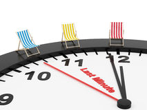 Last minute. Render of a clock and 3 deck chairs on a white background stock illustration