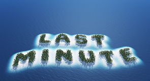 Last minute. Text 'last minute' in upper case letters composed of glittering particles  surrounded by a bright white cloud, blue background Stock Photography