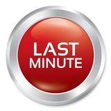 Last minute button. Sale red round sticker. Royalty Free Stock Photo