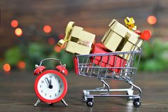 Last minute Christmas shopping. Last minute Christmas gift shopping stock photography