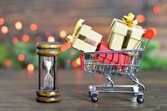 Last minute Christmas shopping. Last minute Christmas gift shopping Royalty Free Stock Photo
