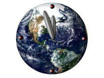 Last minute concept. Globe with clock that shows it is five minutes to twelve stock illustration