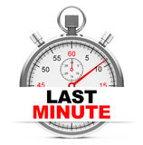 Last minute. 3d generated picture of a stopwatch with last minute sign royalty free illustration