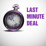 Last minute deal. Abstract colorful background with purple watch and the text last minute deal written with purple letters stock illustration