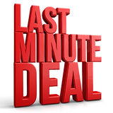 Last Minute Deal. 3d render concept stock illustration