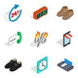 Last minute discount icons set, isometric style. Last minute discount icons set. Isometric set of 9 last minute discount vector icons for web isolated on white Royalty Free Stock Photography