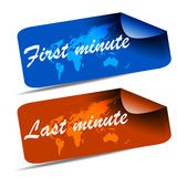 Last minute and first minute web tag. With world map Royalty Free Stock Photography