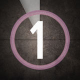 Last minute on grunge background - warm. Film countdown with number one on grunge background stock illustration
