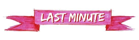 Last minute ribbon. Last minute hand painted ribbon sign vector illustration