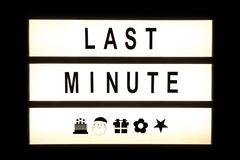 Last minute hanging light box. Sign board Royalty Free Stock Photos