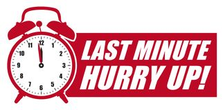 Free Last Minute Hurry Up! Red Vector Graphic - Alarm Clock Royalty Free Stock Photography - 133098077