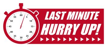 Last Minute Hurry Up! Red Vector Graphic with StopWatch vector illustration