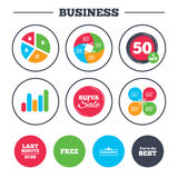 Last minute icon. Exclusive special offer. Business pie chart. Growth graph. Last minute icon. Exclusive special offer with star symbols. You are the best sign royalty free illustration