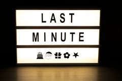 Last minute light box sign board. On wooden table Stock Photo