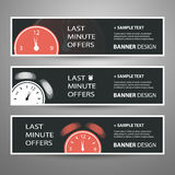 Last Minute Offer Banners for Your Advertisement. Set of Modern Styled Colorful Horizontal Headers or Banners with Abstract Designs for Last Minute Advertisement royalty free stock photos