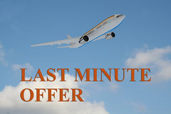 Last Minute Offer - business concept. 3D illustration of LAST MINUTE OFFER title on cloudy sky as a background, under an airplane which is taking off vector illustration