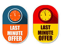 Last minute offer with clock signs, two elliptical labels Stock Photo