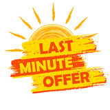 Last minute offer with sun sign, summer yellow and orange drawn Stock Images
