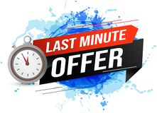 Free Last Minute Offer Watch Countdown Banner Design Template For Marketing. Last Chance Promotion Or Retail. Background Banner Poster Royalty Free Stock Photography - 147070677