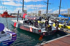 Sun hung Kai Scallywag Volvo Ocean Race 2017. Last minute preparations just before the start of the Round The World Race Royalty Free Stock Photos