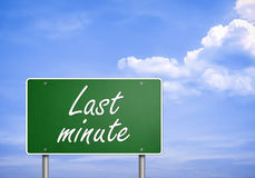 LAST MINUTE. Road sign concept royalty free stock photos