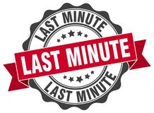 Last minute seal. Last minute round ribbon seal isolated on white background Royalty Free Stock Photography