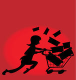 Last minute shopping. Illustration of a woman running to buy gifts in a store royalty free illustration