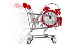 Last minute shopping. Shopping cart with alarm clock in it and moving blur behind. Concept of last minute shopping Stock Image