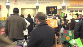 Last Minute Shopping Before the Storm stock video footage