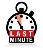 Last minute sign with stopwatch Royalty Free Stock Photography