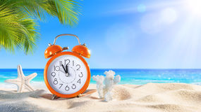 Last Minute - Summertime Concept - Alarm. In The Tropical Beach Stock Image