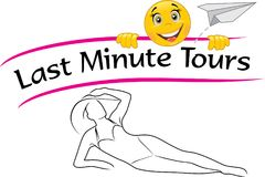 Last minute tours. Design for a travel agency. Illustration Stock Photos