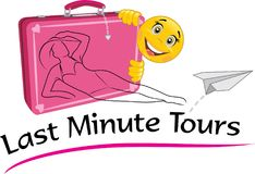 Last minute tours. Drawing for a travel agency stock images