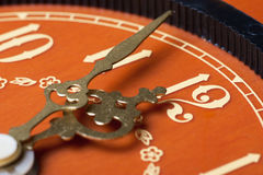 Last minutes. Closeup view of antique clock face. Last minutes before midnight Stock Photo