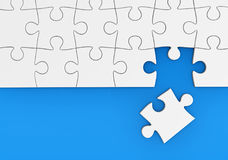 Last Missing Puzzle Piece. Last missing piece to complete the puzzle business solution and problem solving concept 3D illustration Royalty Free Stock Image