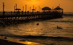 Pier at sunset Huanchaco, Peru stock photo