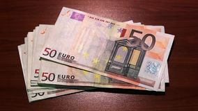 Last money disappears. Bankruptcy. Inflation. Financial crisis. 50 euro banknotes. stock video footage